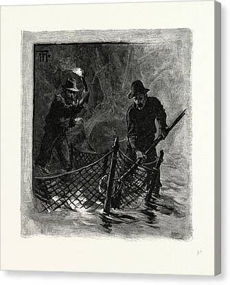 New Brunswick, Emptying Salmon Nets By Torchlight Canvas Print by Canadian School