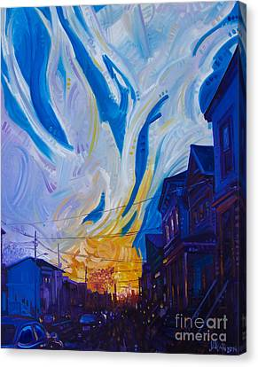 Canvas Print featuring the painting New Brunswick Sunset by Michael Ciccotello