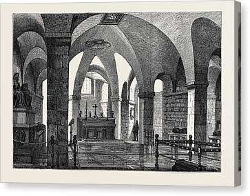 New Chapel For Early Morning Service In The Crypt Of St Canvas Print by English School