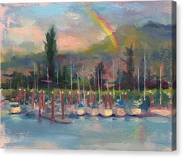New Covenant - Rainbow Over Marina Canvas Print by Talya Johnson