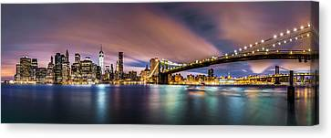 Canvas Print featuring the photograph New Dawn Over New York by Mihai Andritoiu