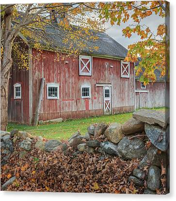New England Barn Square Canvas Print by Bill Wakeley