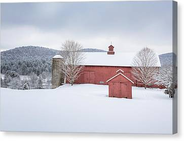 Red Barn In Snow Canvas Print - New England Barns by Bill Wakeley