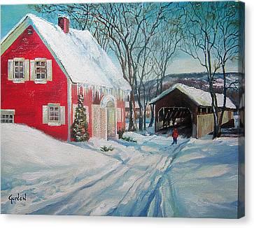 New England Covered Bridge Canvas Print by Brett Gordon