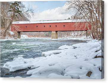 Covered Bridges Canvas Print - New England Covered Bridge Winter by Bill Wakeley