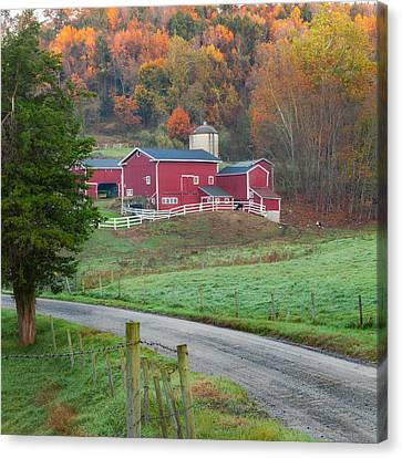 Old Country Roads Canvas Print - New England Farm Square by Bill Wakeley