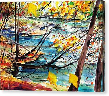 New England Leaves Along The River Canvas Print