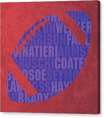 New England Patriots Football Team Typography Famous Player Names On Canvas Canvas Print by Design Turnpike