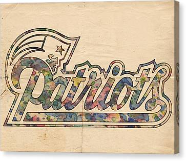 New England Patriots Logo Art Canvas Print by Florian Rodarte