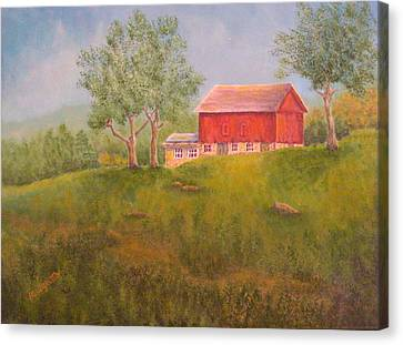 New England Red Barn At Sunrise Canvas Print
