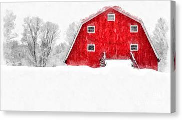 New England Red Barn In Winter Snow Storm Watercolor Canvas Print by Edward Fielding