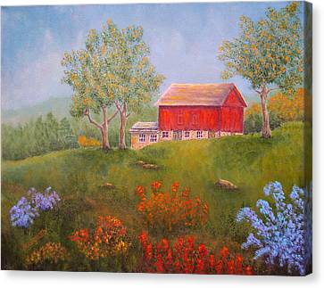 New England Red Barn Summer Canvas Print by Pamela Allegretto