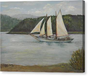 Canvas Print featuring the painting New England Schooner by Sandra Nardone