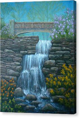New England Waterfall Canvas Print by Pamela Allegretto