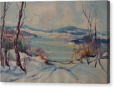 New England Winter Canvas Print by Dorothy Campbell Therrien