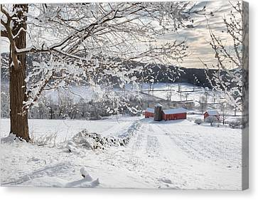 Snow Scene Canvas Print - New England Winter Farms by Bill Wakeley