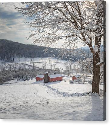 New England Winter Farms Morning Square Canvas Print by Bill Wakeley