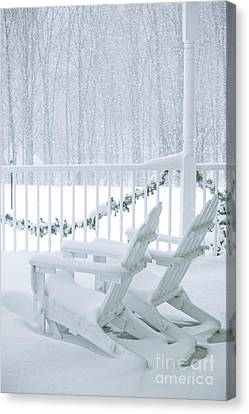 New England Winter Porch Canvas Print