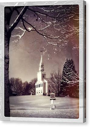 New England Winter Village Scene Canvas Print