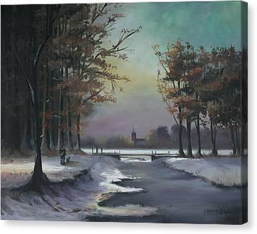 New England Winter Walk Canvas Print by Cecilia Brendel