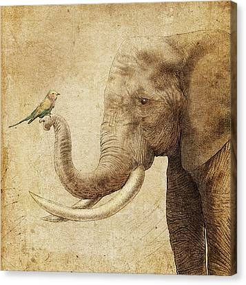Elephants Canvas Print - New Friend by Eric Fan