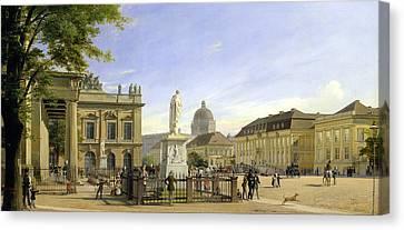 New Guardshouse In Berlin Canvas Print by Johann Philipp Eduard Gartner