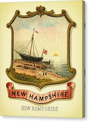 New Hampshire Coat Of Arms - 1876 Canvas Print by Mountain Dreams