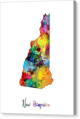New Hampshire Map Canvas Print by Michael Tompsett