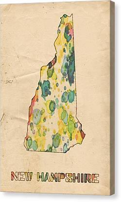 New Hampshire Map Vintage Watercolor Canvas Print by Florian Rodarte