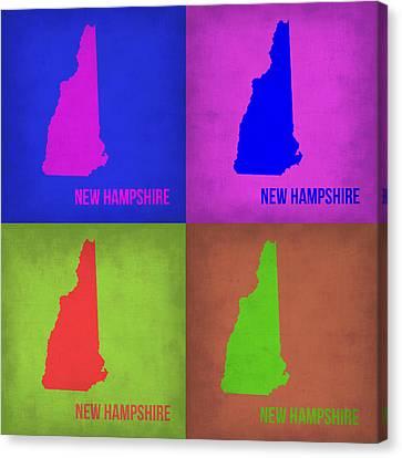 New Hampshire Pop Art Map 1 Canvas Print by Naxart Studio
