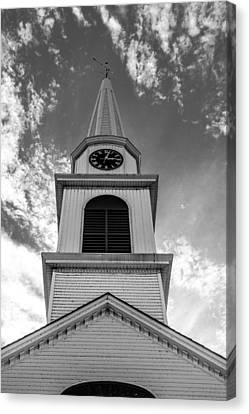 New Hampshire Steeple Detailed View Black And White Canvas Print by Karen Stephenson