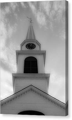 New Hampshire Steeple Dreamy View Black And White Canvas Print by Karen Stephenson