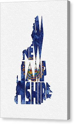New Hampshire Typographic Map Flag Canvas Print