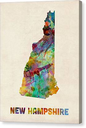 Hampshire Canvas Print - New Hampshire Watercolor Map by Michael Tompsett