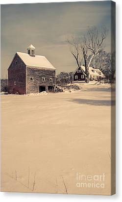 Rural Landscapes Canvas Print - New Hampshire Winter Farm Scene by Edward Fielding