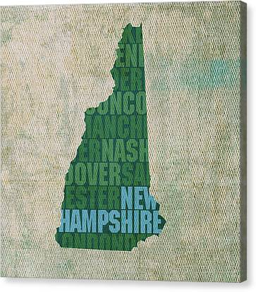 New Hampshire Word Art State Map On Canvas Canvas Print
