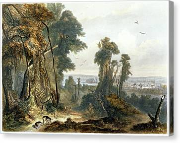 New Harmony On The Wabash, Plate 2 Canvas Print by Karl Bodmer