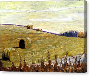 New Haybales Canvas Print by Charlie Spear
