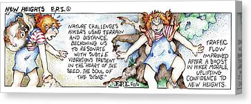Canvas Print featuring the painting New Heights Fpi Cartoon by Dawn Sperry