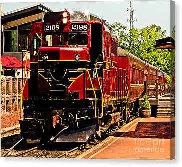 New Hope Ivyland Railroad With Cars Canvas Print by Tom Gari Gallery-Three-Photography