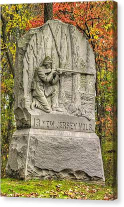 New Jersey At Gettysburg - 13th Nj Volunteer Infantry Near Culps Hill Autumn Canvas Print by Michael Mazaika
