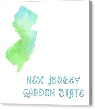 New Jersey - Garden State - Map - State Phrase - Geology Canvas Print by Andee Design