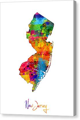 New Jersey Map Canvas Print by Michael Tompsett