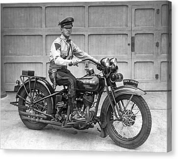 New Jersey Motorcycle Trooper Canvas Print by Underwood Archives