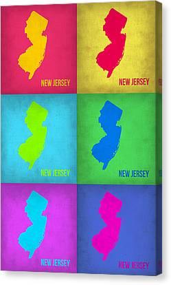 New Jersey Pop Art Map 1 Canvas Print by Naxart Studio
