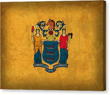 New Jersey State Flag Art On Worn Canvas Canvas Print by Design Turnpike