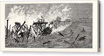 Threatening Canvas Print - New Jersey Threatened Destruction Of The Iron Pier At Long by American School