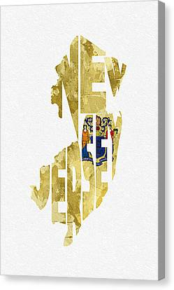New Jersey Typographic Map Flag Canvas Print