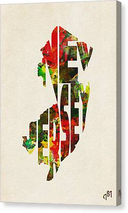 Dirty Canvas Print - New Jersey Typographic Watercolor Map by Inspirowl Design