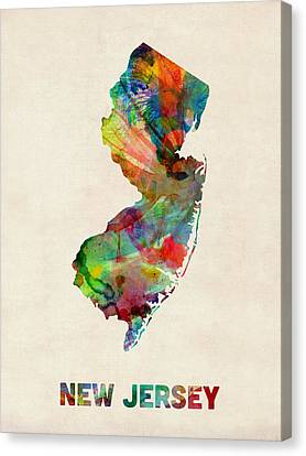 New Jersey Watercolor Map Canvas Print by Michael Tompsett
